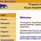 web site for Vision Impairment program at San Francisco State University