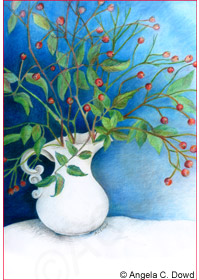 drawing of berries in a white pitcher