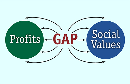 illustration for Dar Gillett showing gap between profits and social values