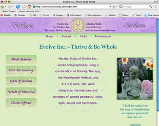 Evolve Inc. home page, Buddha with daffodils