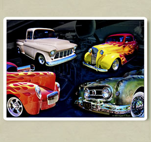 photo collage of custom cars