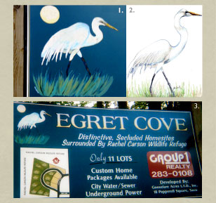 Enamel sign painting of an egret