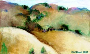 drawing of  hills