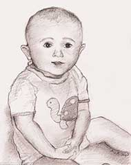 sketch of 9 month old boy