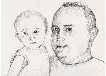 sketch of a young man and his 2 year old son