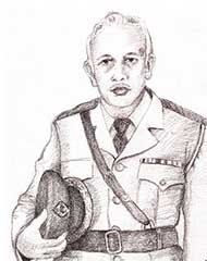 sketch of a police officer from Sri Lanka