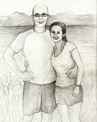 sketch of a woman and man standing outside together
