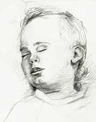 sketch of an 8 month old baby boy
