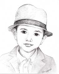 sketch of a 3 year old boy in a hat