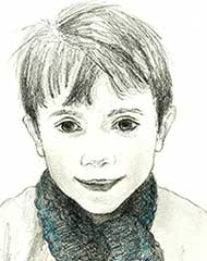 sketch of a 7 year old boy with a blue scarf
