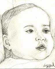 sketch of a 3 month old baby boy