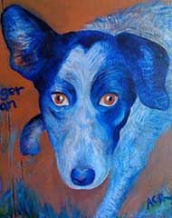 acrylic painting of a blue healer dog