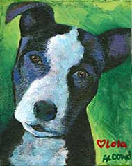 acrylic painting of a pit bull dog